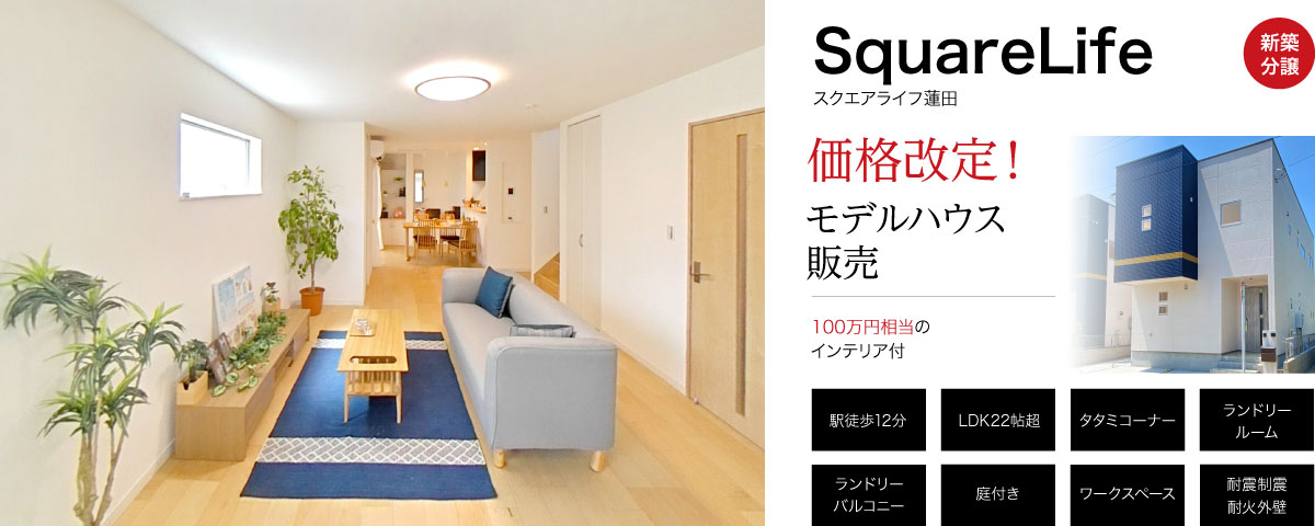 蓮田駅徒歩12分!22帖のフレキシブルLDKと快適ランドリールームのある家